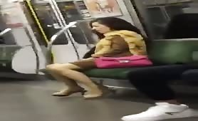 Chinese women jacking on train